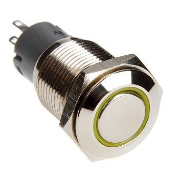 Race Sport - Race Sport LED Momentary Switch (Yellow) (RS-16MM-LEDY)