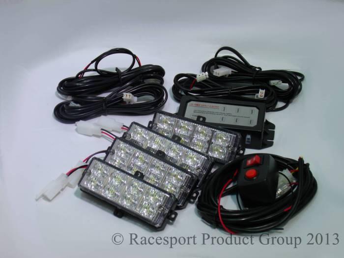 Race Sport - Race Sport LED Grill Strobe Light Kit (White) (RS-281-4LED-W)